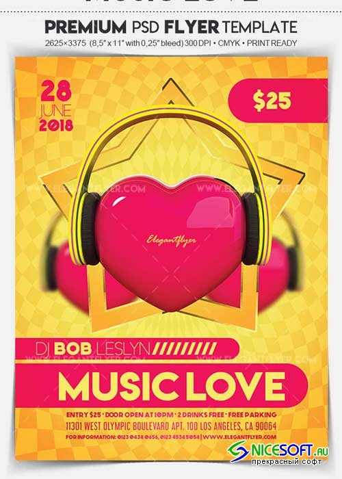 Music Love V1 2018 Flyer PSD Template + Facebook Cover