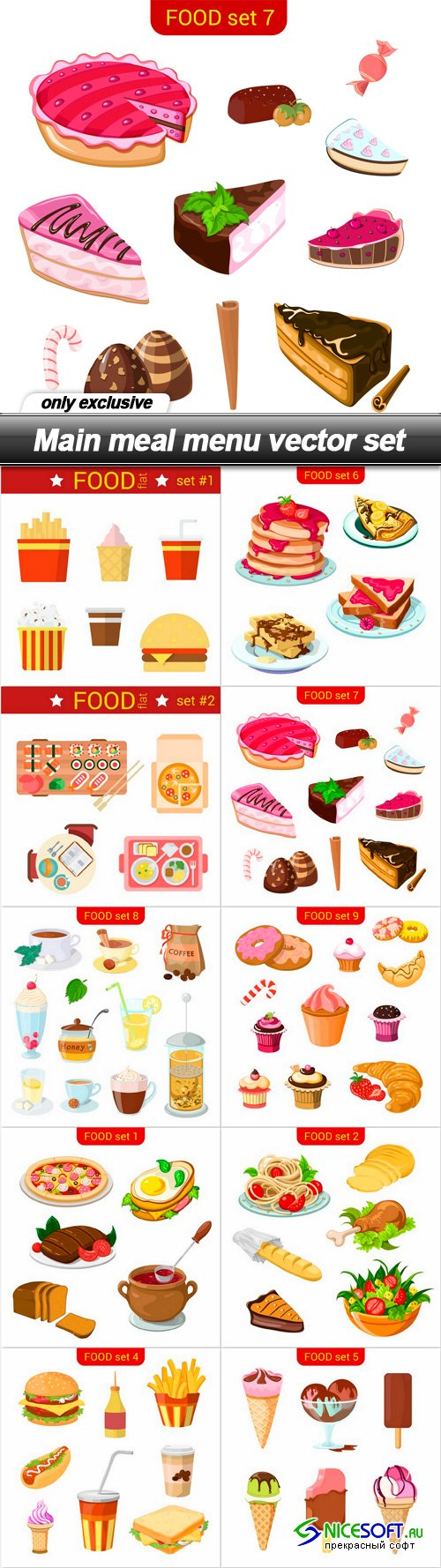Main meal menu vector set