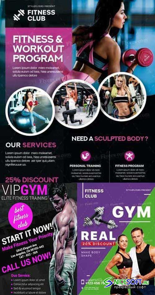 GYM V1 3in1 2018 PSD Flyer Template