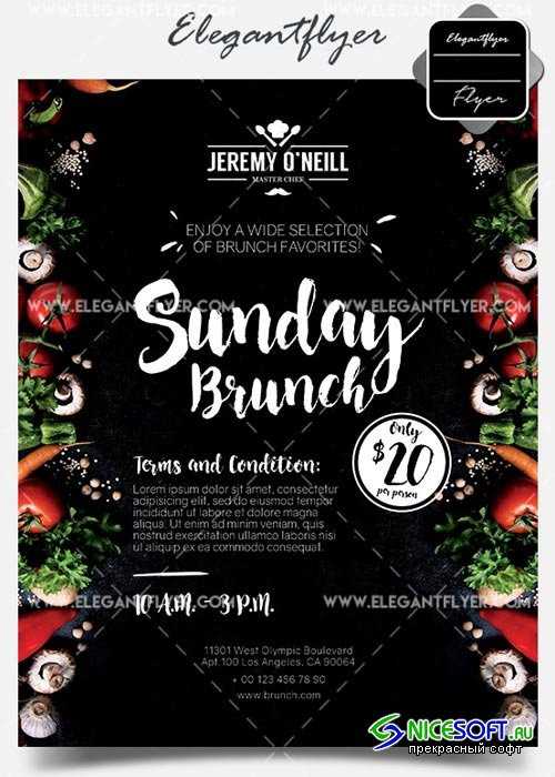 Sunday Brunch V1 2018 Flyer PSD Template + Facebook Cover