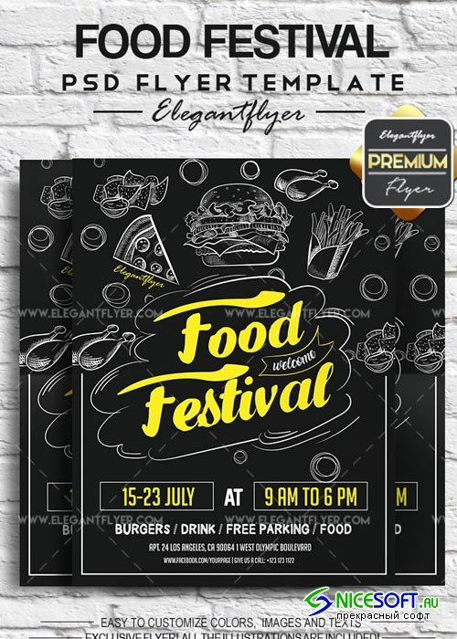 Food Festival V1 2018 Flyer PSD Template + Facebook Cover