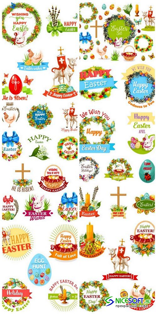 Easter symbol set - 8 EPS