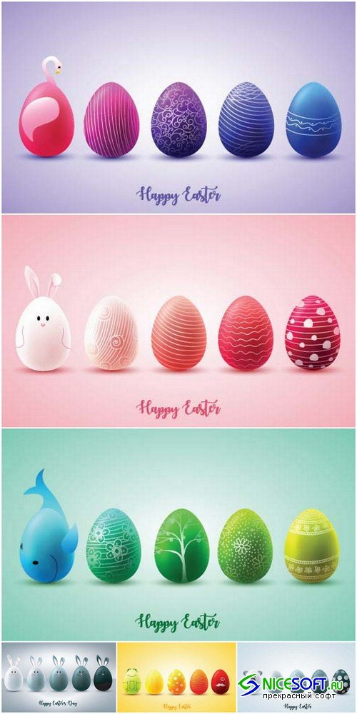 Happy Easter backgrounds 1 - 6 EPS