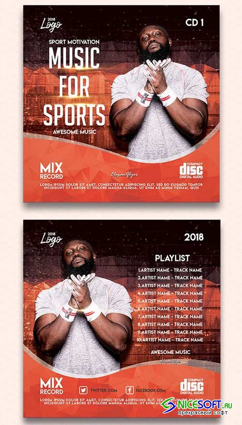 Music For Sports V1 2018 Premium CD Cover PSD Template