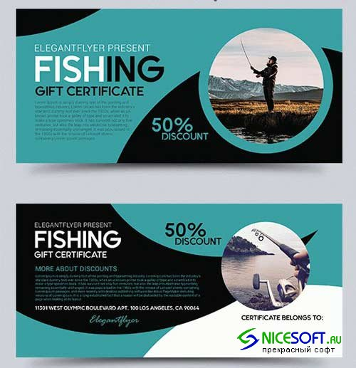 Fishing V1 2018 Gift Certificate PSD Template