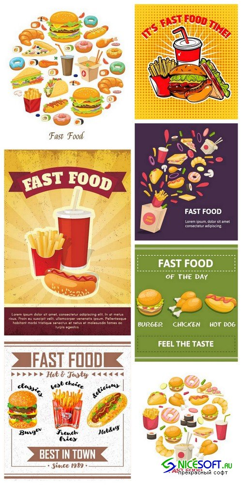 Fast food poster - 7 EPS