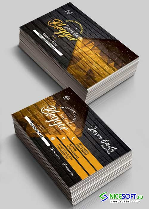 Blogger V1 2018 Premium Business Card Templates PSD