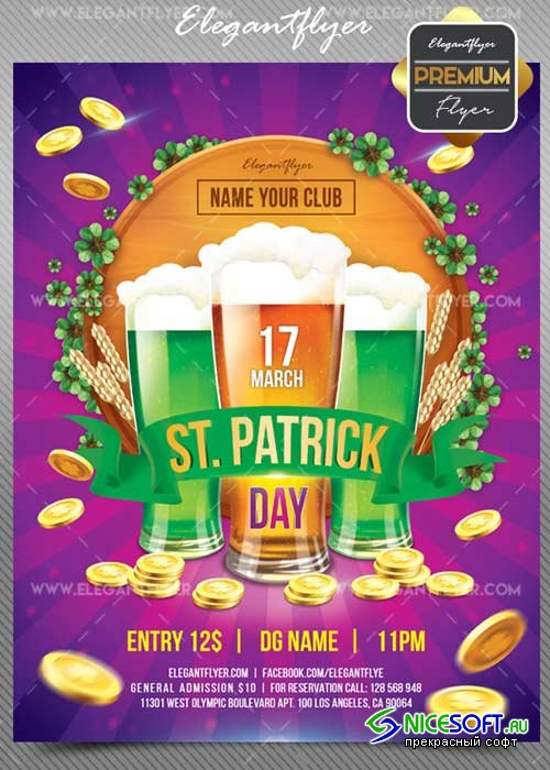 St. Patrick Day V17 2018 Flyer PSD Template + Facebook Cover