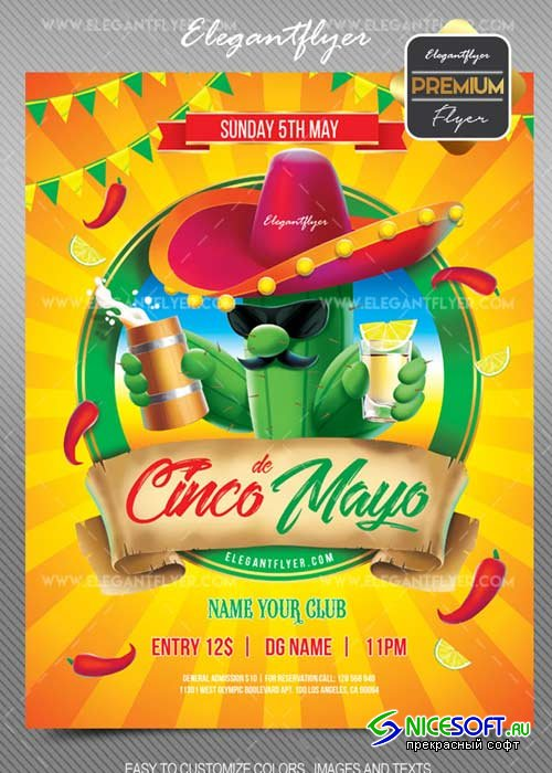 Cinco de Mayo V5 2018 Flyer PSD Template + Facebook Cover