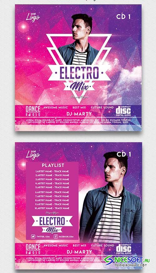 Electro Mix V3 2018 Premium CD Cover PSD Template