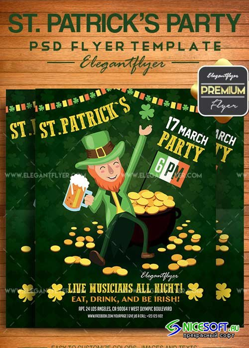 St. Patricks Party V21 2018 Flyer PSD Template + Facebook Cover