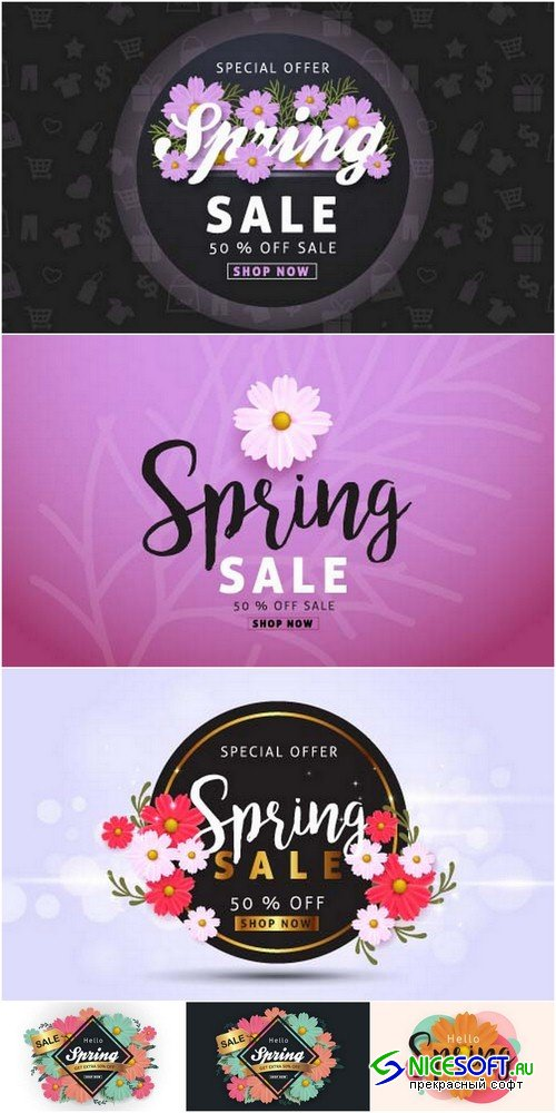 Spring sale backgrounds 3 - 6 EPS