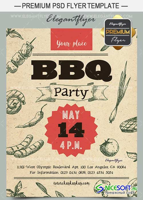 BBQ Party V3 2018 Premium Flyer PSD Template + Facebook Cover