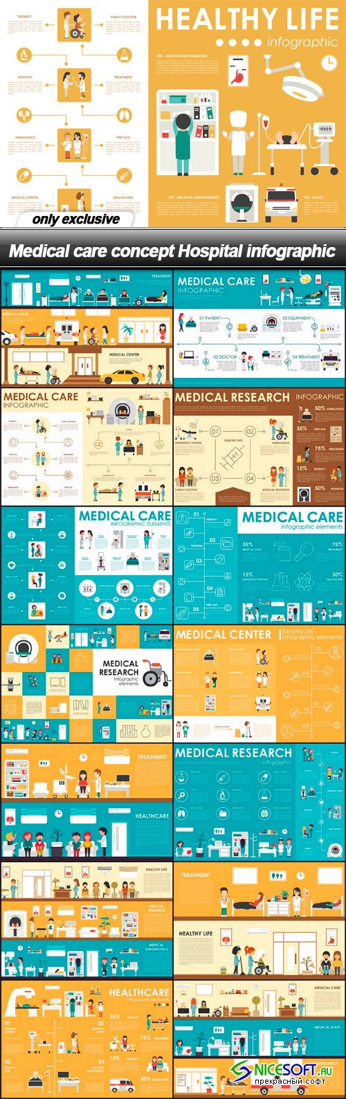 Medical care concept Hospital infographic