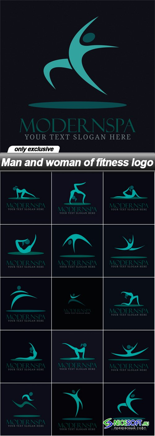 Man and woman of fitness logo