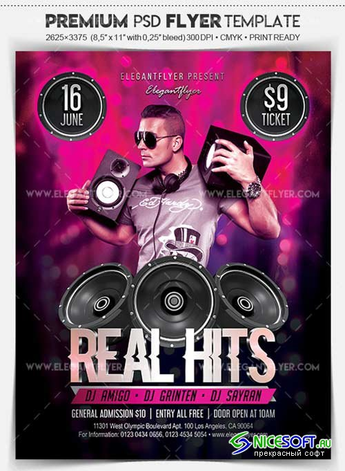 Real Hits V1 2018 Flyer PSD Template