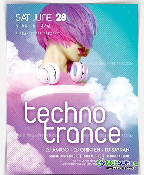 Techno Trance V4 2018 Flyer PSD Template