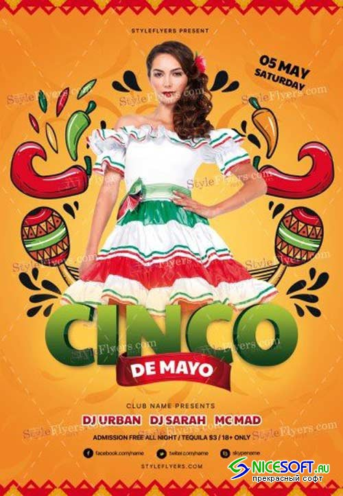 Cinco De Mayo V17 2018 PSD Flyer Template