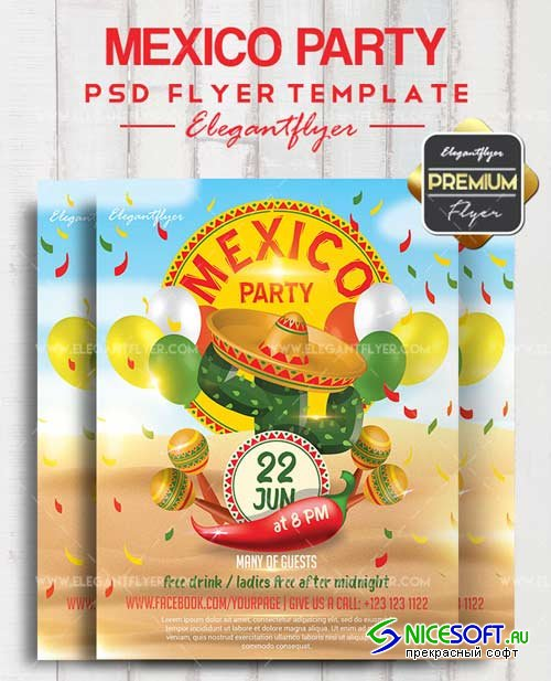 Mexico Party V28 2018 Flyer PSD Template