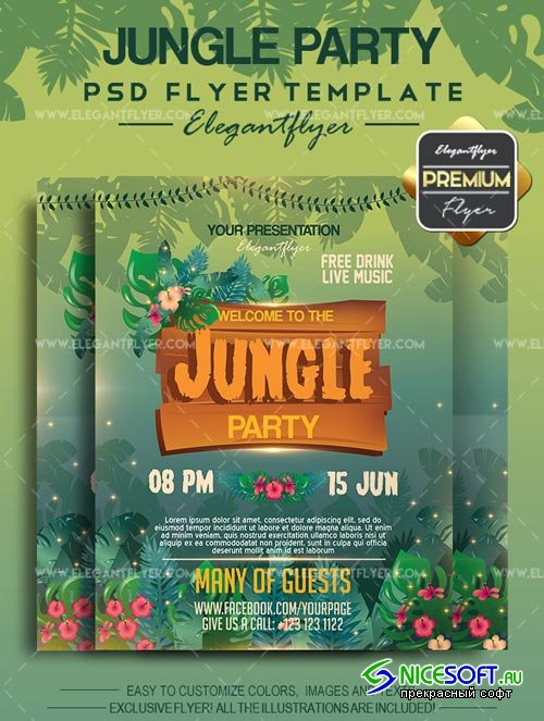 Jungle Party V4 2018 Flyer PSD Template