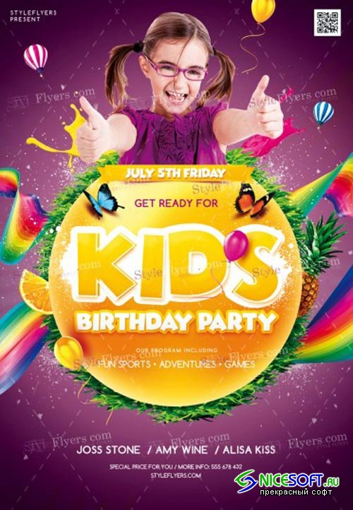 Kids Birthday Party V1 2018 PSD Flyer Template