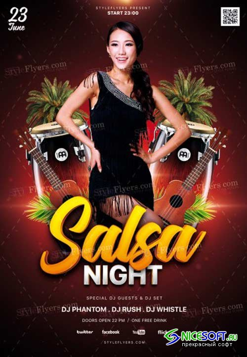Salsa Night V1 2018 PSD Flyer Template