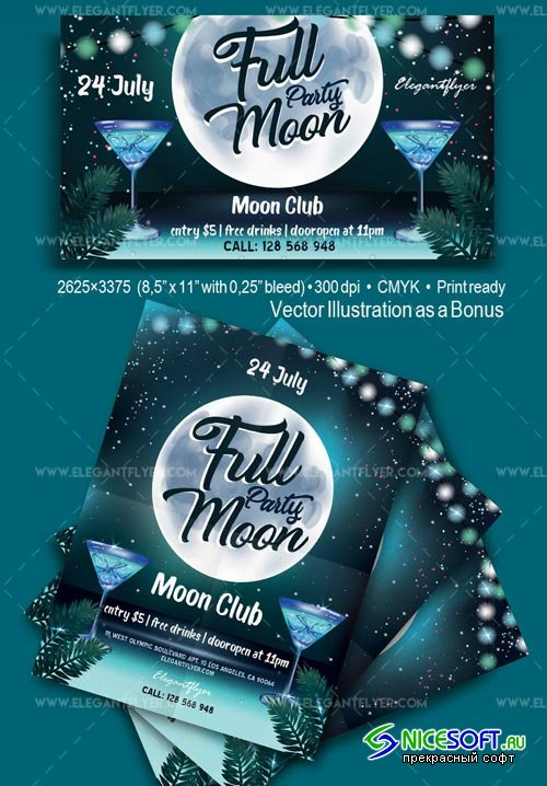 Full Moon Party V1 2018 Flyer PSD Template