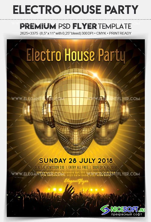 Electro House Party V1 2018 Flyer PSD Template