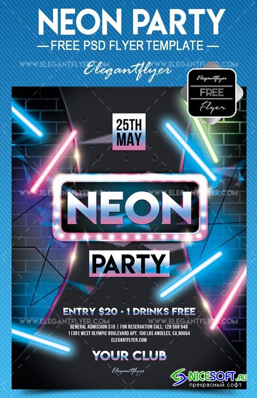 Neon Party V3 2018 Flyer PSD Template