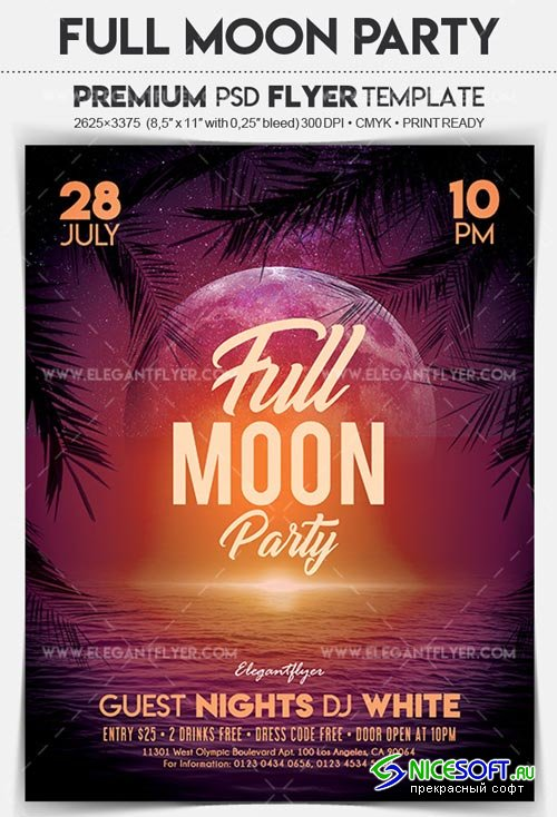 Full Moon Party V2 2018 Flyer PSD Template