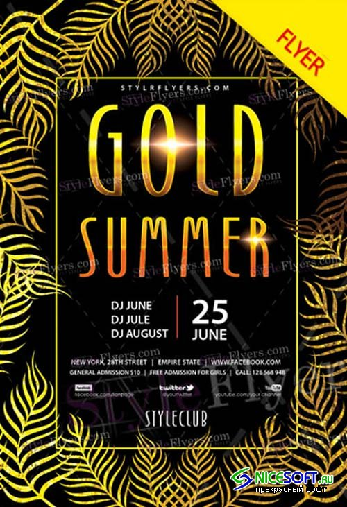 Gold Summer Party V9 2018 Flyer PSD