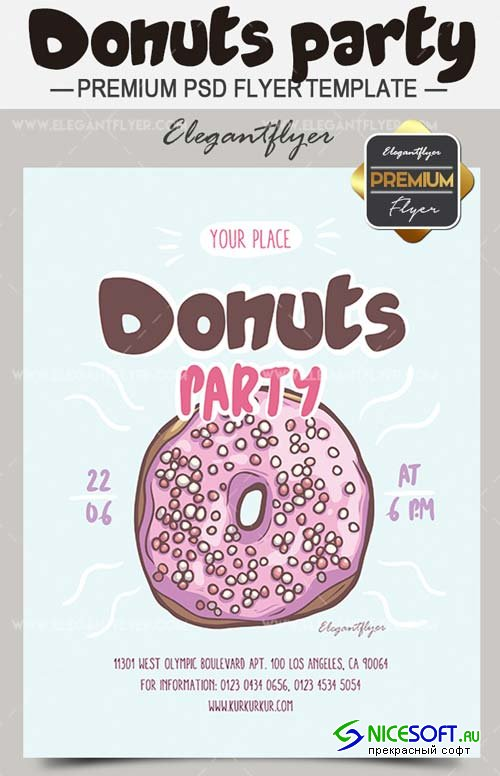 Donuts Party V4 2018 Flyer Template