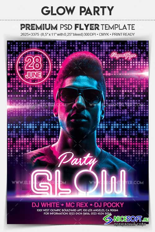 Glow Party V4 2018 Flyer PSD Template