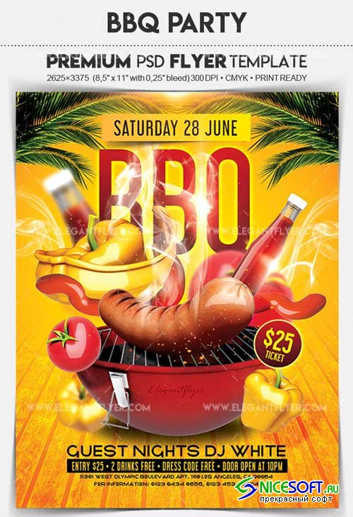 BBQ Party V3 2018 Flyer PSD Template