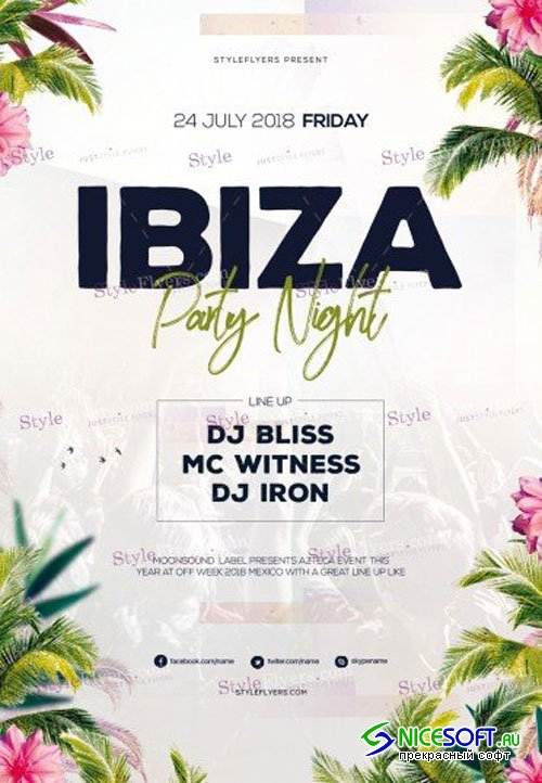 Ibiza Party Night V1 2018 PSD Flyer Template