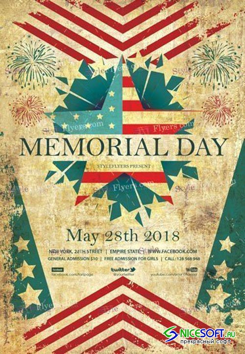 Memorial Day 2018 PSD V25 Flyer Template