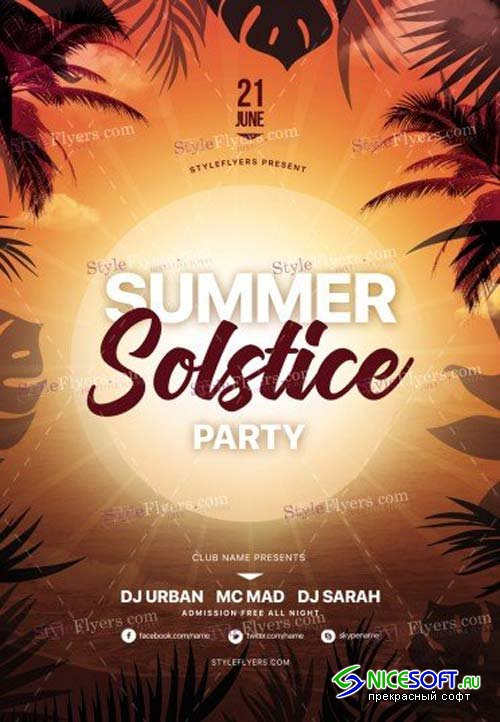 Summer Solstice Party V1 2018 PSD Flyer Template