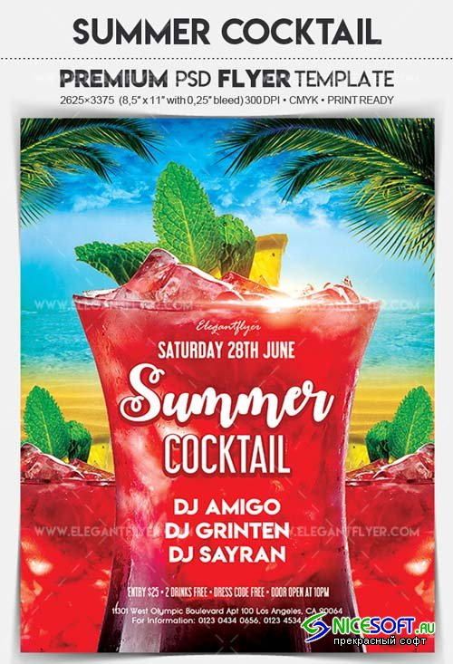 Summer Cocktail V8 2018 Flyer PSD Template
