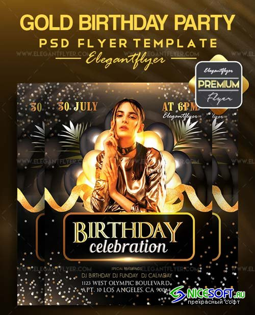 Gold Birthday Party V1 2018 Flyer PSD Template