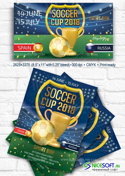 Soccer Cup V7 2018 Flyer PSD Template