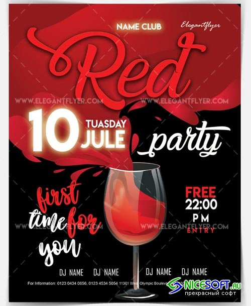 Red Party V2 2018 Flyer PSD Template