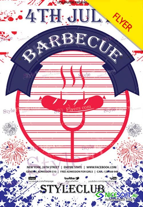 4th july BBQ V22 2018 Flyer PSD