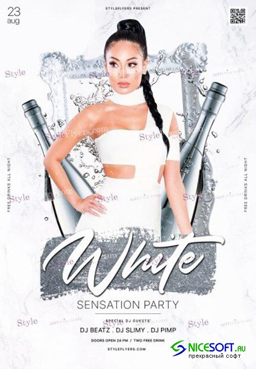 White Party V8 2018 PSD Flyer Template