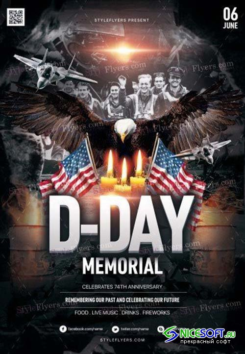 D-Day Memorial  V1 2018 PSD Flyer Template