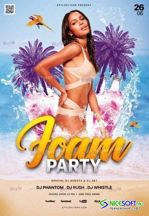 Foam Party V1 2018 PSD Flyer Template
