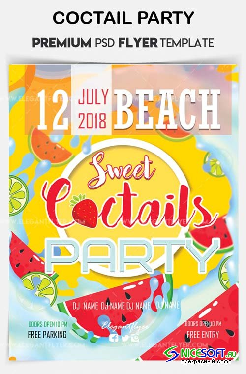 Coctail Party V14 2018Flyer PSD Template