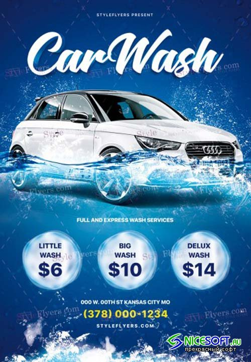 Car Wash V17 2018 PSD Flyer Template