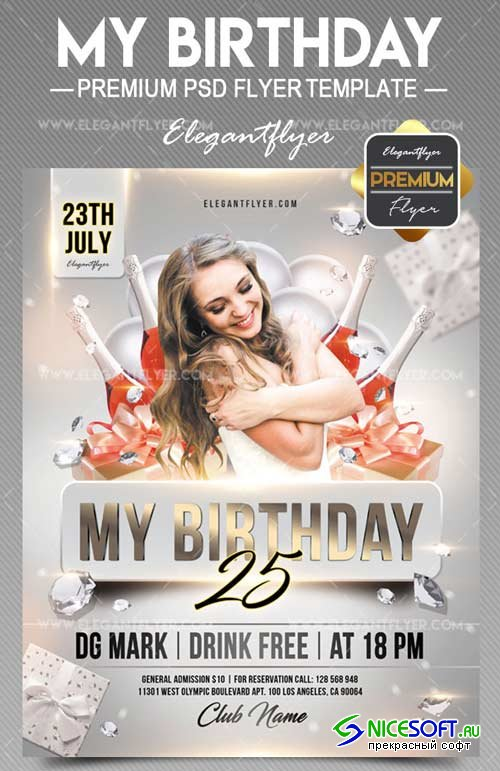 My Birthday V12 2018 Flyer PSD Template