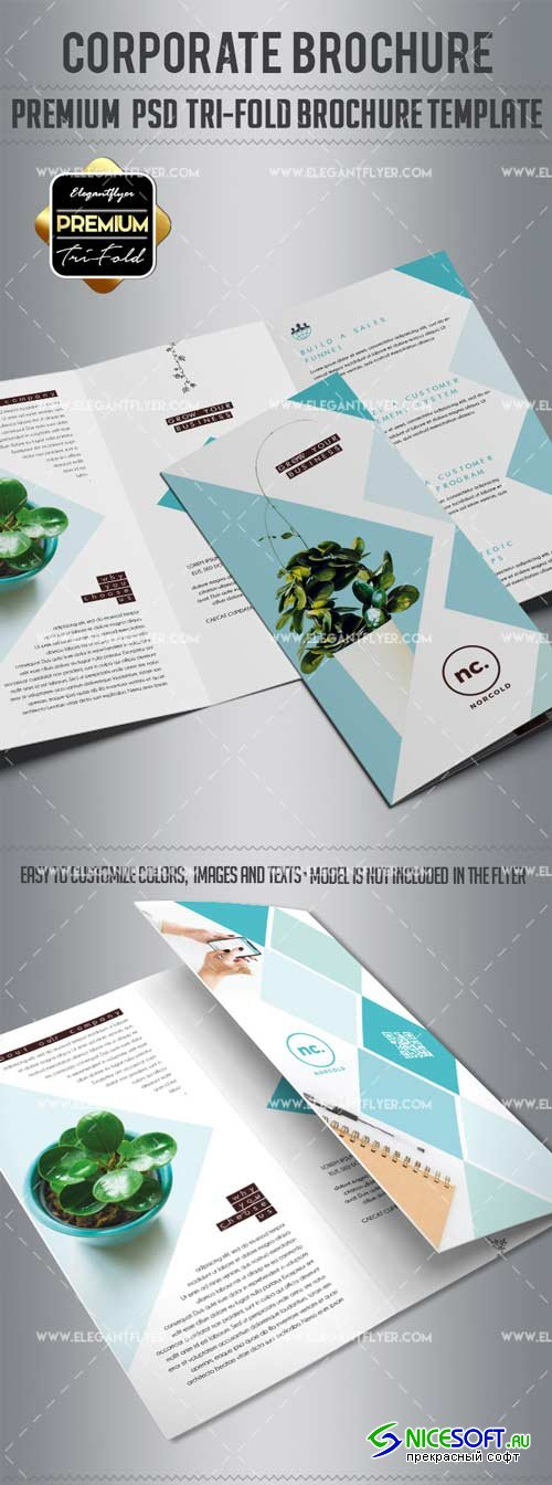 Corporate V14 2018 Tri-Fold Brochure PSD Template