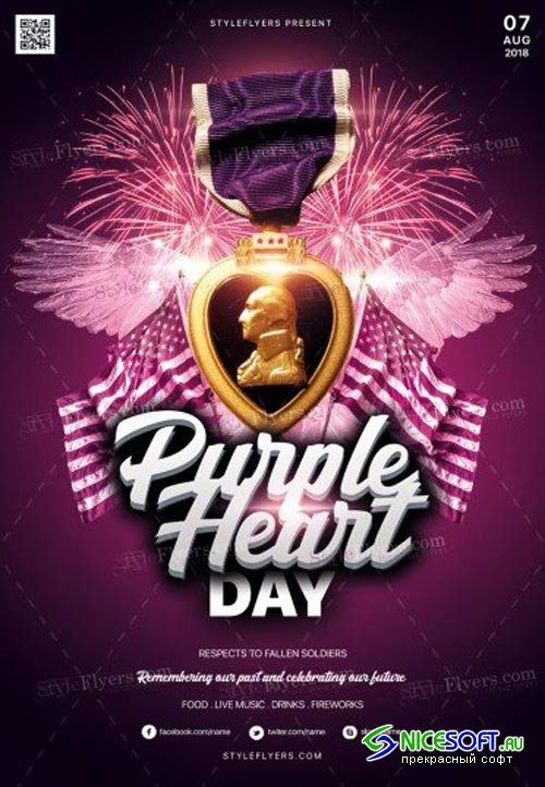 Purple Heart Day V1 2018 PSD Flyer Template